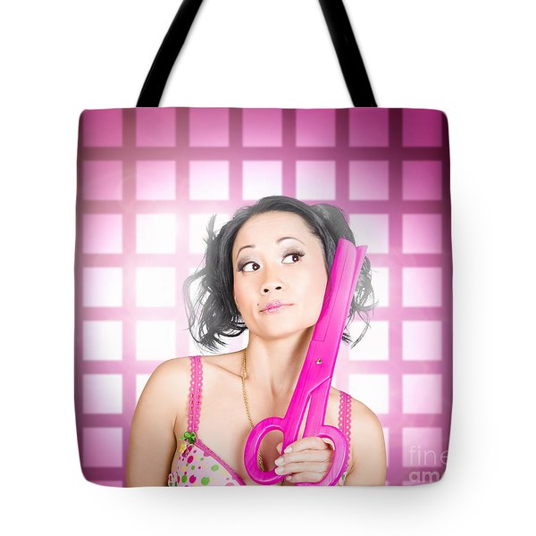 Retro Hairdresser Holding Big Pair Of Scissors Tote Bag