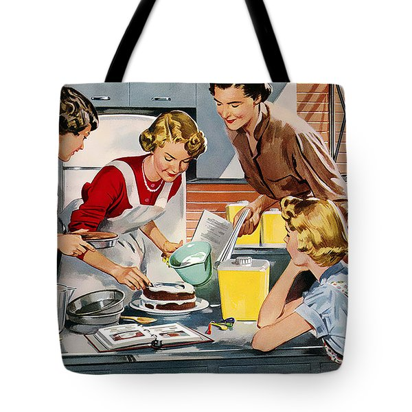 Tote Bag featuring the digital art Retro Home by Reinvintaged