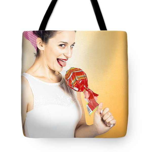 Retro Housewife Craving Sweet Candy Tote Bag