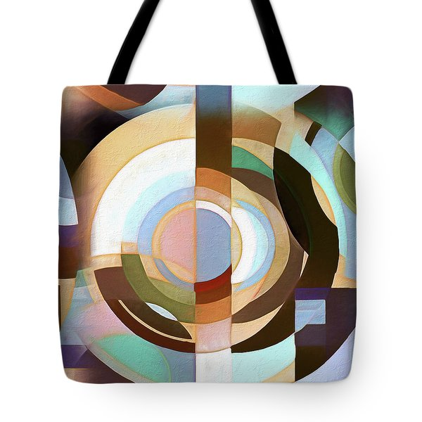 Tote Bag featuring the digital art Retro Mod Brown And Blue Grapic Circle Pattern by Tracie Kaska