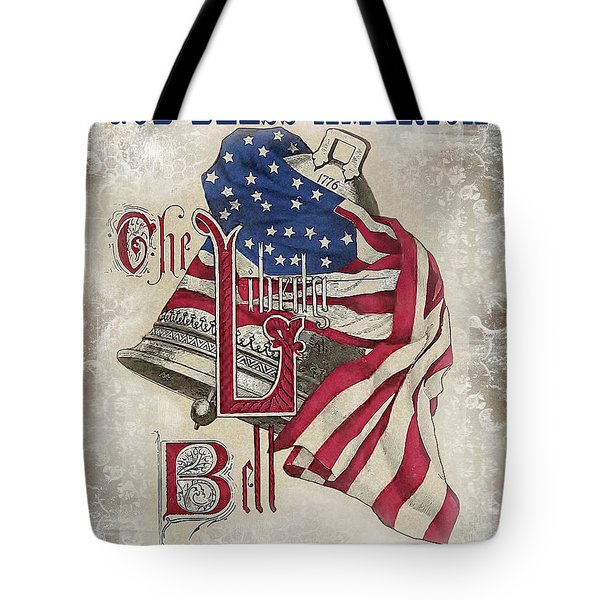 Tote Bag featuring the digital art Retro Patriotic-a by Jean Plout