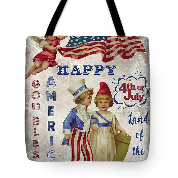 Tote Bag featuring the digital art Retro Patriotic-c by Jean Plout