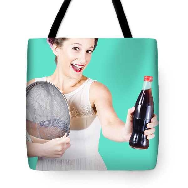 Retro Pin-up Girl Giving Bottle Of Soft Drink Tote Bag