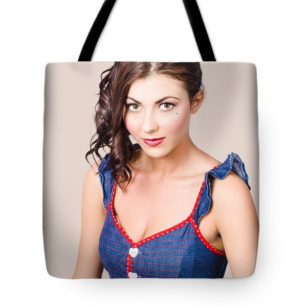Retro Pin-up Girl In Blue Denim Dress Tote Bag
