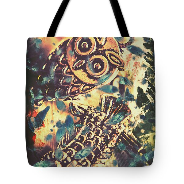 Retro Pop Art Owls Under Floating Feathers Tote Bag