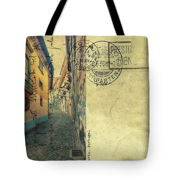 Tote Bag featuring the digital art retro postcard of Porto, Portugal  by Ariadna De Raadt