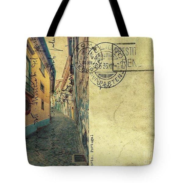 retro postcard of Porto, Portugal  Tote Bag