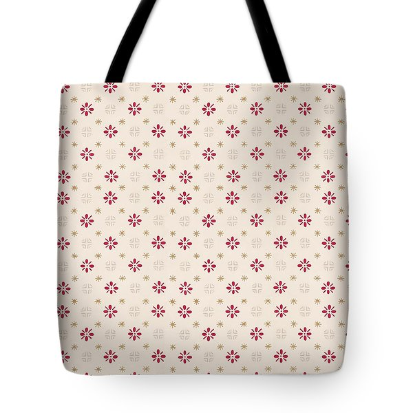 Tote Bag featuring the digital art Retro Red Flower Gold Star Vintage Wallpaper by Tracie Kaska