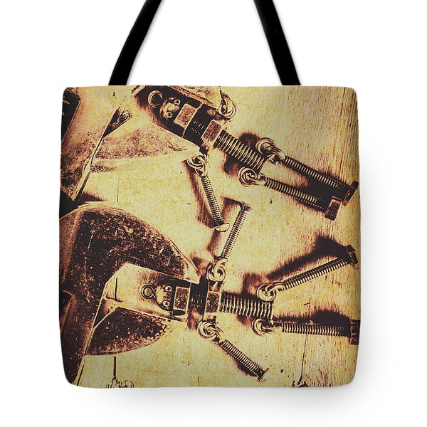 Retro Robot Revival Tote Bag