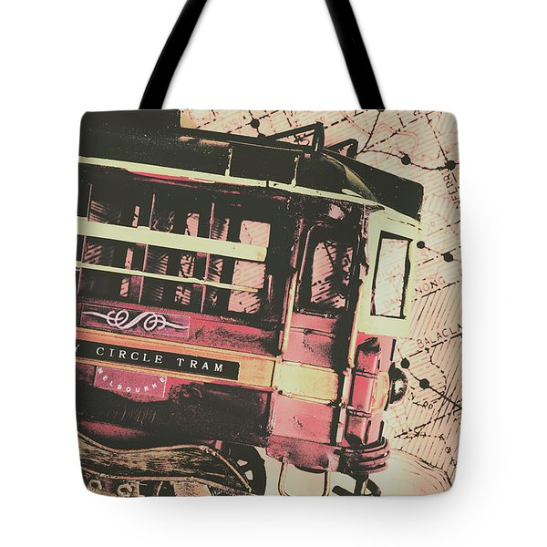 Retro Streets And Urban Trams Tote Bag