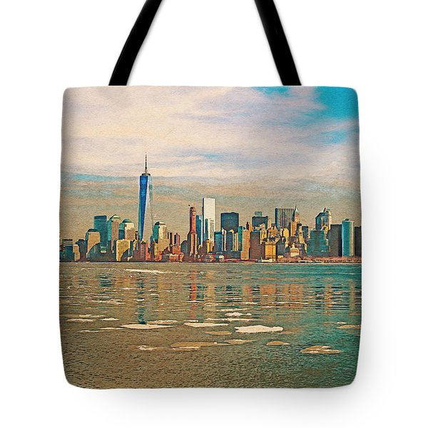 Tote Bag featuring the digital art Retro Style Skyline Of New York City, United States by Anthony Murphy