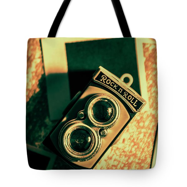 Retro Toy Camera On Photo Background Tote Bag