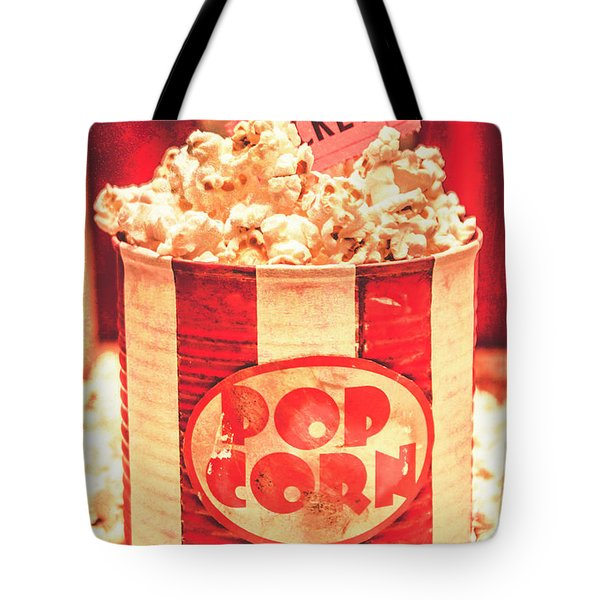 Retro Tub Of Butter Popcorn And Ticket Stub Tote Bag