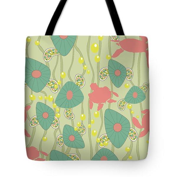 Tote Bag featuring the digital art Retro Turtles by April Burton