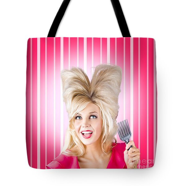 Retro Woman With Hairstyle Love. Heart Shape Hair Tote Bag