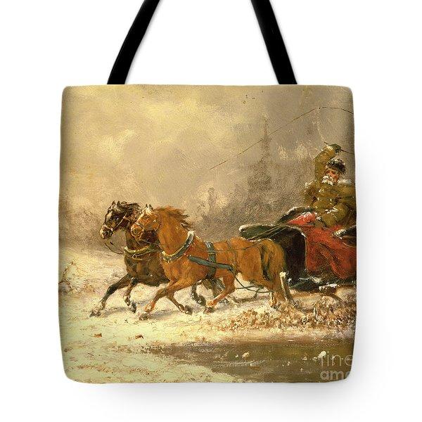 Returning Home In Winter Tote Bag by Charles Ferdinand De La Roche