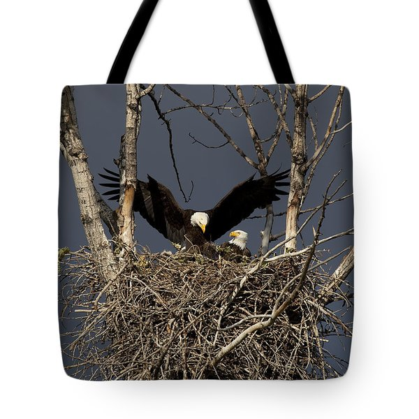 Returning Home To The Nest Tote Bag by Mike  Dawson