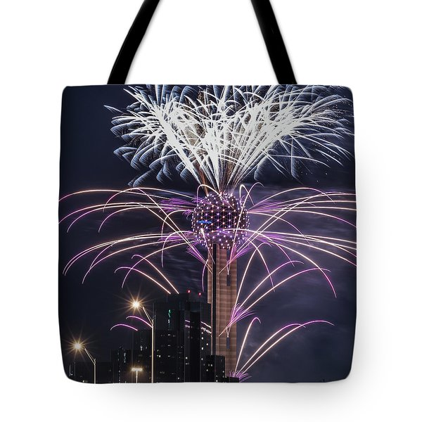 Reunion Tower Fireworks Tote Bag