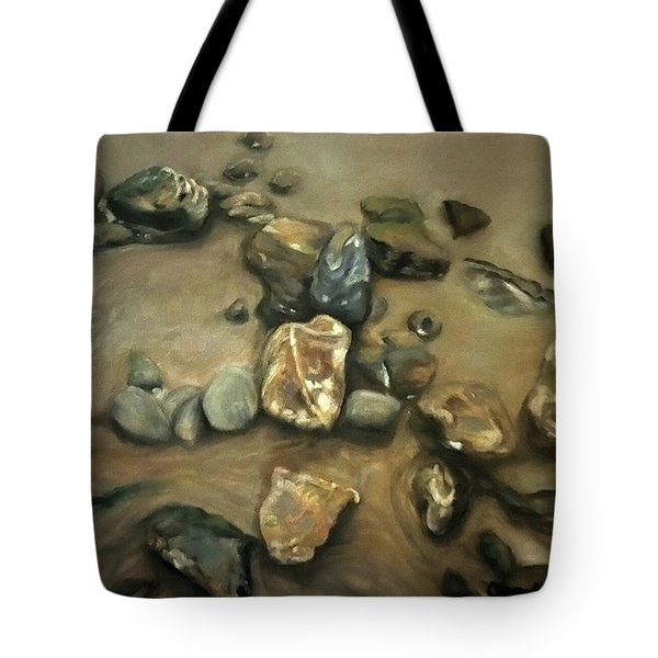 Tote Bag featuring the painting Revealed At Low Tide by J Reynolds Dail