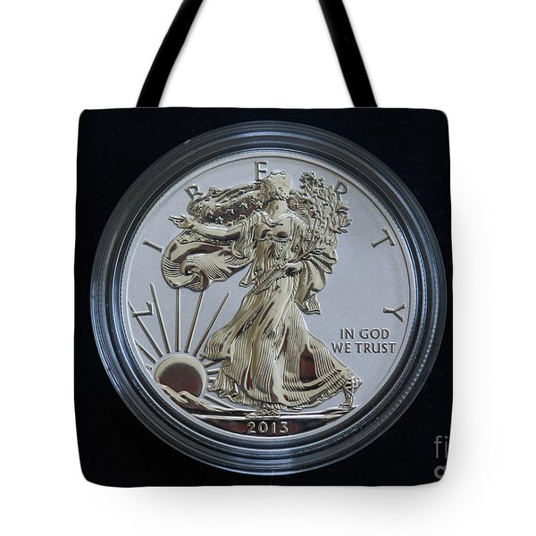 Tote Bag featuring the digital art Reverse Proof Silver Eagle Dollar Coin by Randy Steele