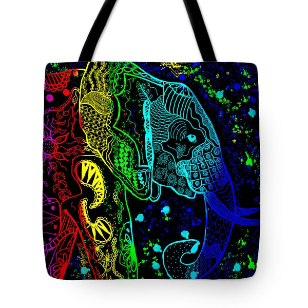 Rainbow Zentangle Elephant With Black Background Tote Bag