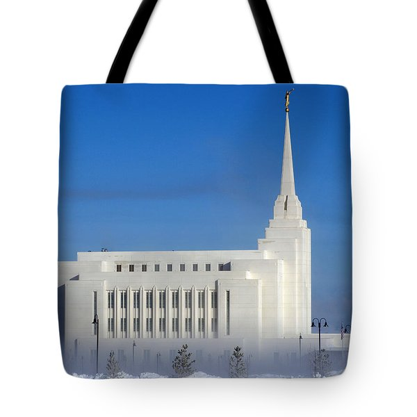 Rexburg Temple Rises Above The Mist Tote Bag