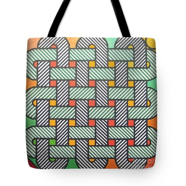 Tote Bag featuring the drawing Rfb1002 Variation I Diagonal by Robert F Battles