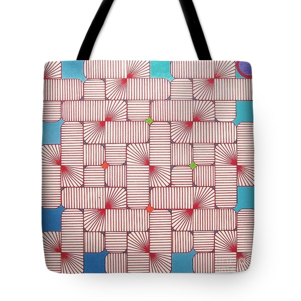 Tote Bag featuring the drawing Rfb1006 Variation IIi Diagonal by Robert F Battles