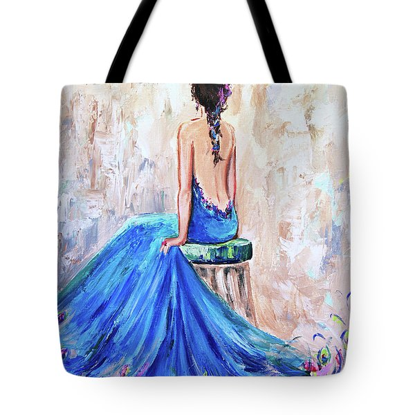 Tote Bag featuring the painting Rhapsody In Blue by Jennifer Beaudet