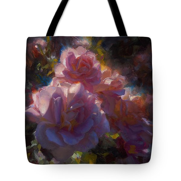 Tote Bag featuring the painting Rhapsody Roses - Flowers In The Garden Painting by Karen Whitworth