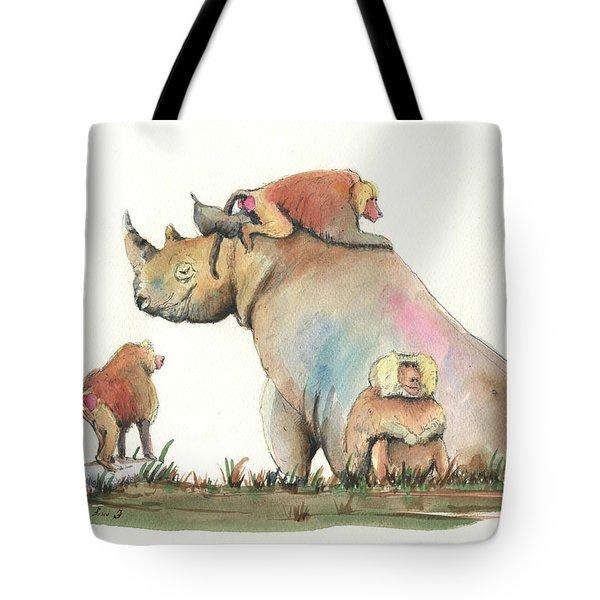 Rhino And Baboons Tote Bag