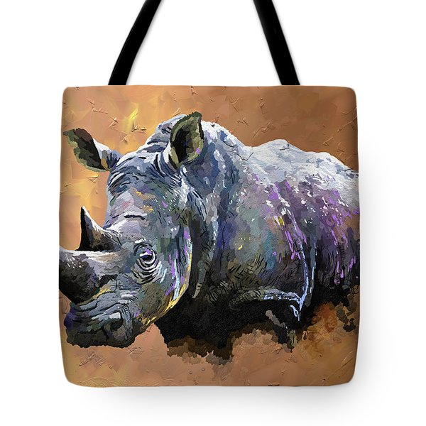 Rhino Tote Bag by Anthony Mwangi