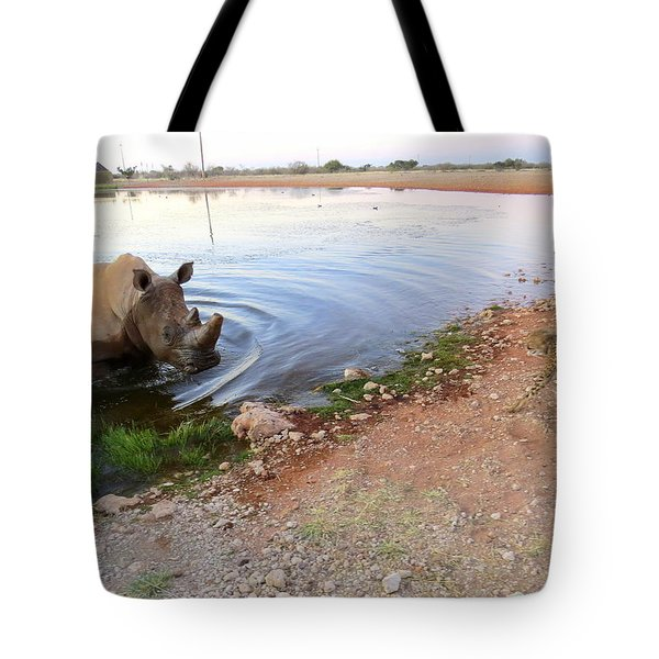 Rhino Cheetah Confrontation Tote Bag