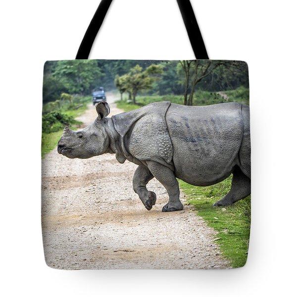Rhino Crossing Tote Bag