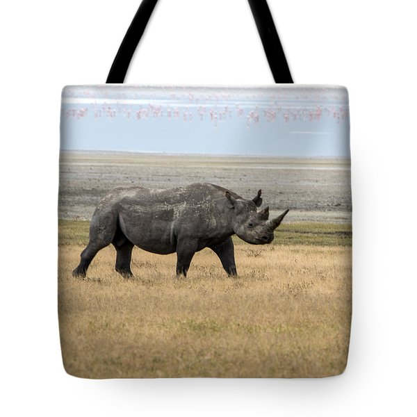 Tote Bag featuring the photograph Rhino In Ngorongoro by Pravine Chester
