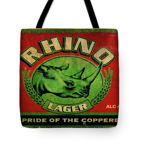 Tote Bag featuring the digital art Rhino Lager by Greg Sharpe