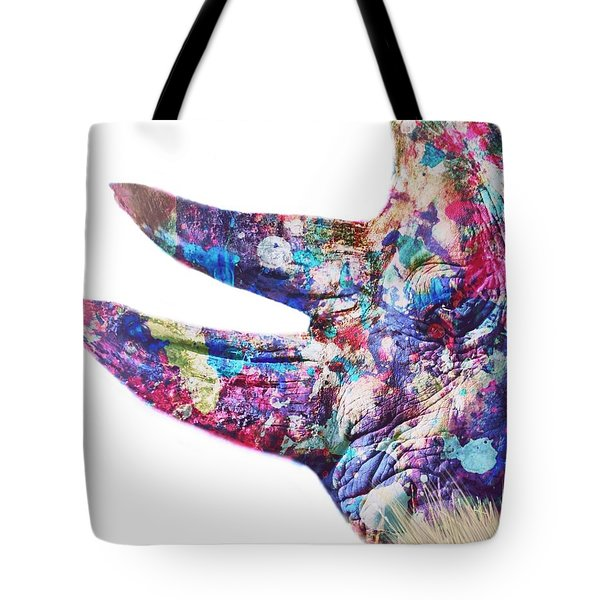 Tote Bag featuring the painting Rhino by Mark Taylor