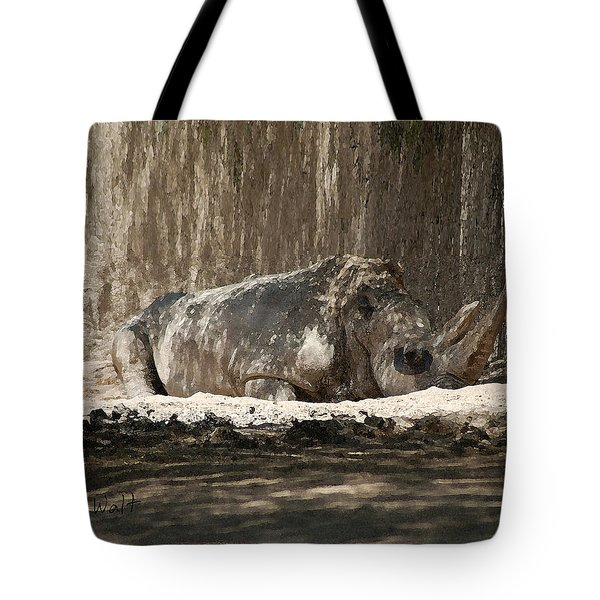 Tote Bag featuring the digital art Rhino by Walter Chamberlain