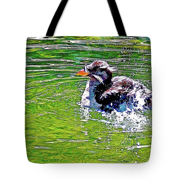 Rhinoceros Auklet In Oregon Coast Aquarium In Newport, Oregon Tote Bag