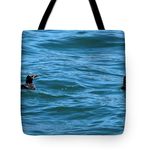 Rhinoceros Auklet Tote Bag by Linda Kerkau