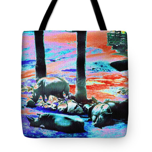 Rhinos Having A Picnic Tote Bag by Abstract Angel Artist Stephen K