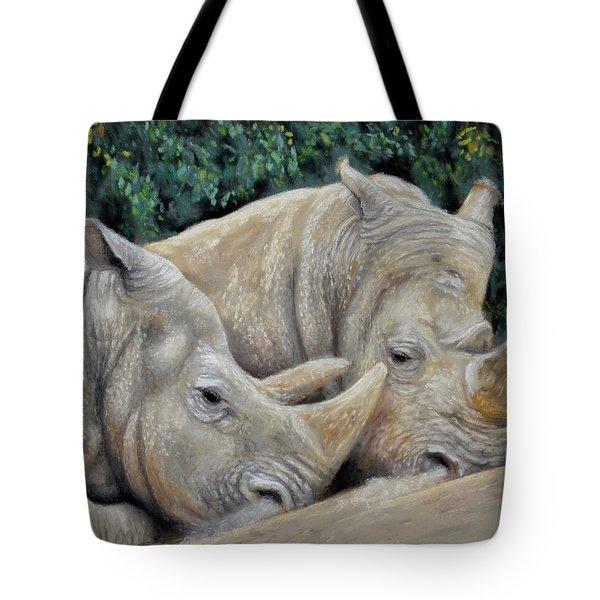 Rhinos Tote Bag by Sam Davis Johnson