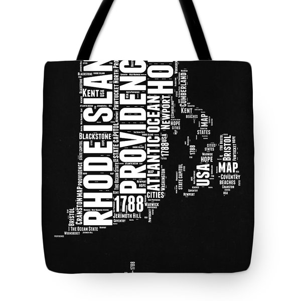 Rhode Island Black And White Map Tote Bag