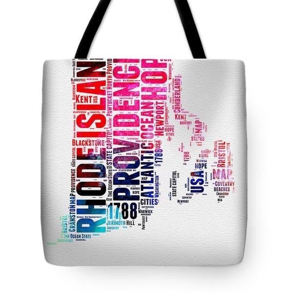 Rhode Island Watercolor Word Cloud Tote Bag