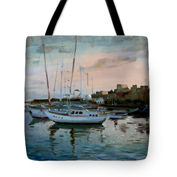 Rhodes Mandraki Harbour Tote Bag by Ylli Haruni