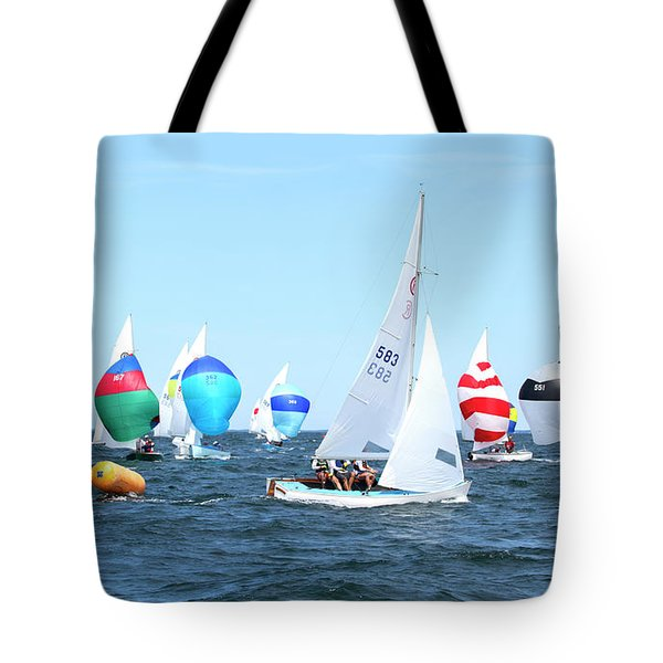 Tote Bag featuring the photograph Rhodes Nationals Sailing Race Dennis Cape Cod by Charles Harden