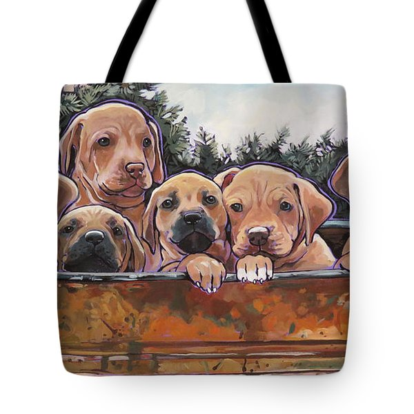Rhodesian Ridgeback Puppies Tote Bag by Nadi Spencer