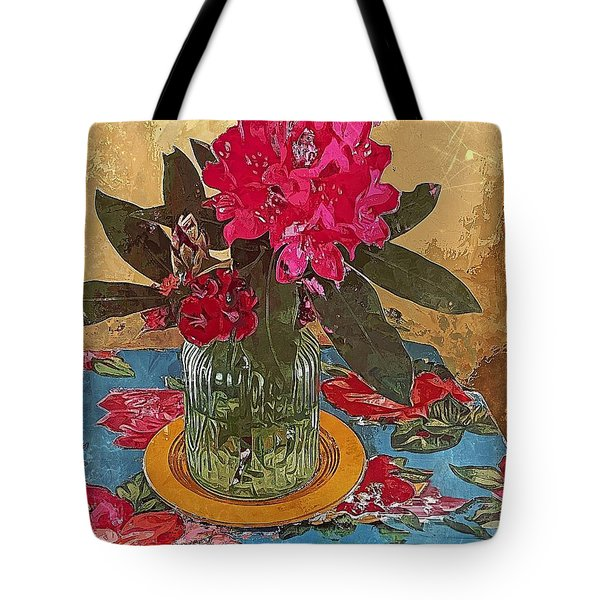 Tote Bag featuring the digital art Rhododendron by Alexis Rotella