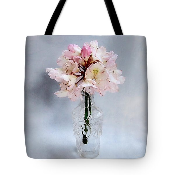 Rhododendron Bloom In A Glass Bottle Tote Bag by Louise Kumpf
