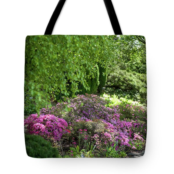 Tote Bag featuring the photograph Rhododendron Bloom In Botanical Garden Mendelu by Jenny Rainbow